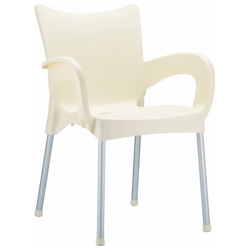 Outdoor Furniture: Plastic Outdoor Chairs: RJ Resin Outdoor Arm Chair Beige
