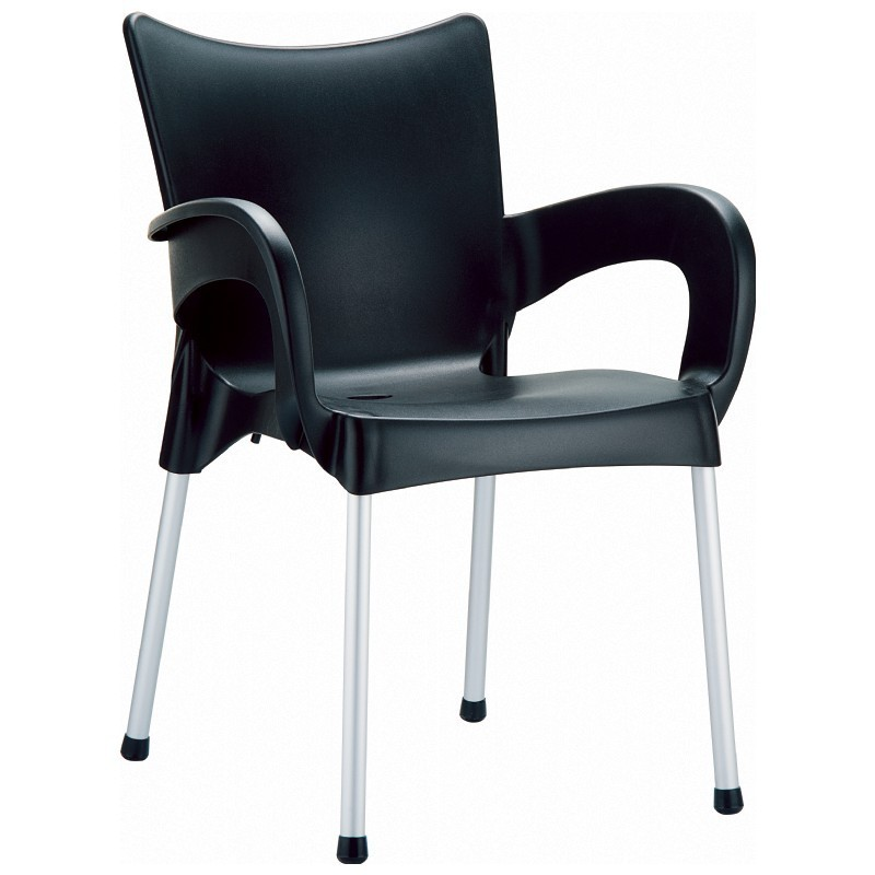Outdoor Furniture: Plastic Outdoor Chairs: RJ Resin Outdoor Arm Chair Black