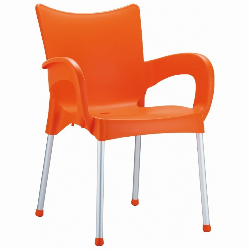 Heavy Duty Plastic Chairs: Siesta Romeo Outdoor Dining Arm Chair Orange