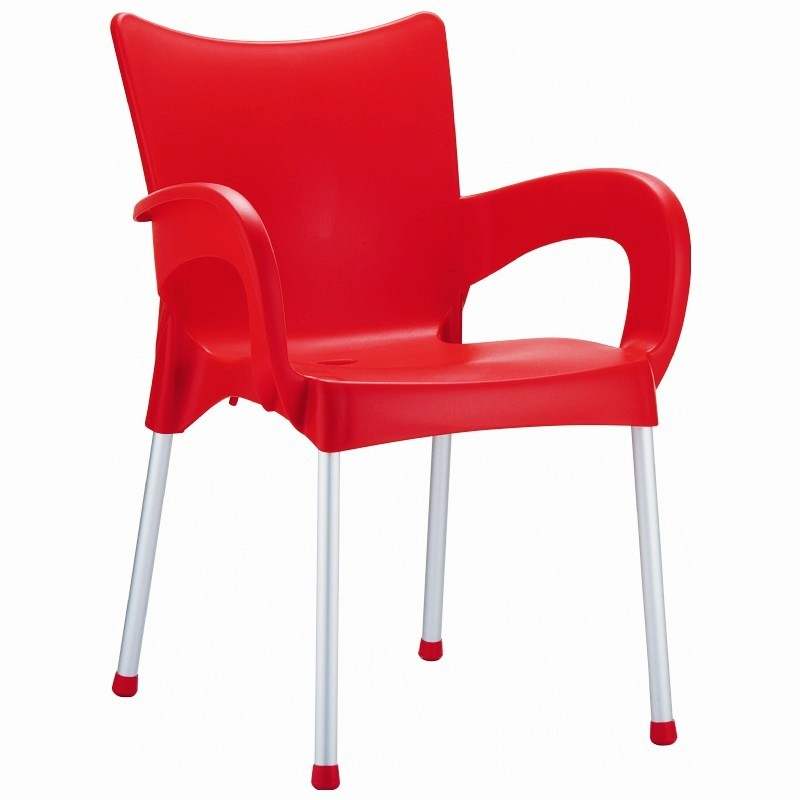 Heavy Duty Plastic Chairs: Siesta Romeo Outdoor Dining Arm Chair Red