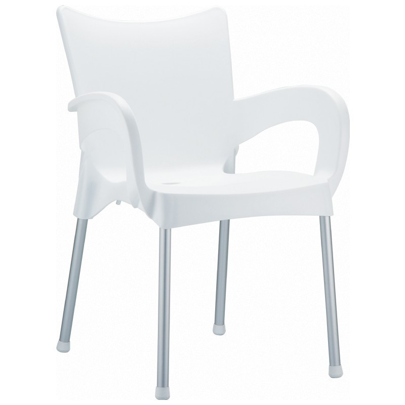 Patio Chair Leg Caps: Siesta Romeo Outdoor Dining Arm Chair White