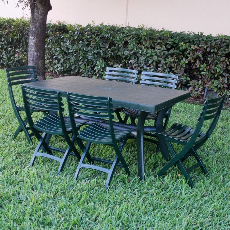 Sunrise Resin Outdoor Dining Set Rectangle 7 Piece Green