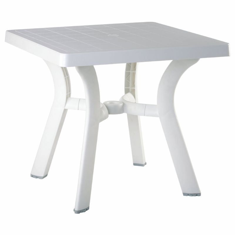"Viva Resin Outdoor Table 31"" Square : White Patio Furniture"
