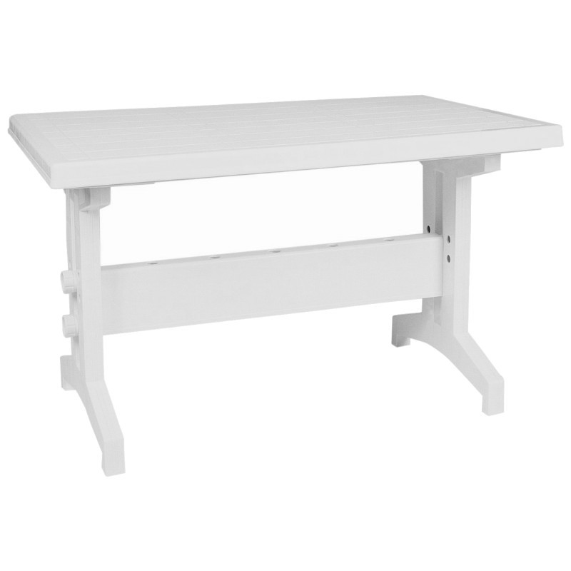 Sunshine Rectangle Slim Resin Table White : Plastic Outdoor Tables