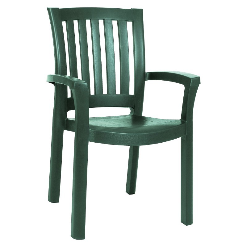 White Metal Patio Chairs: Siesta Sunshine Stackable Plastic Outdoor Dining Chair Green