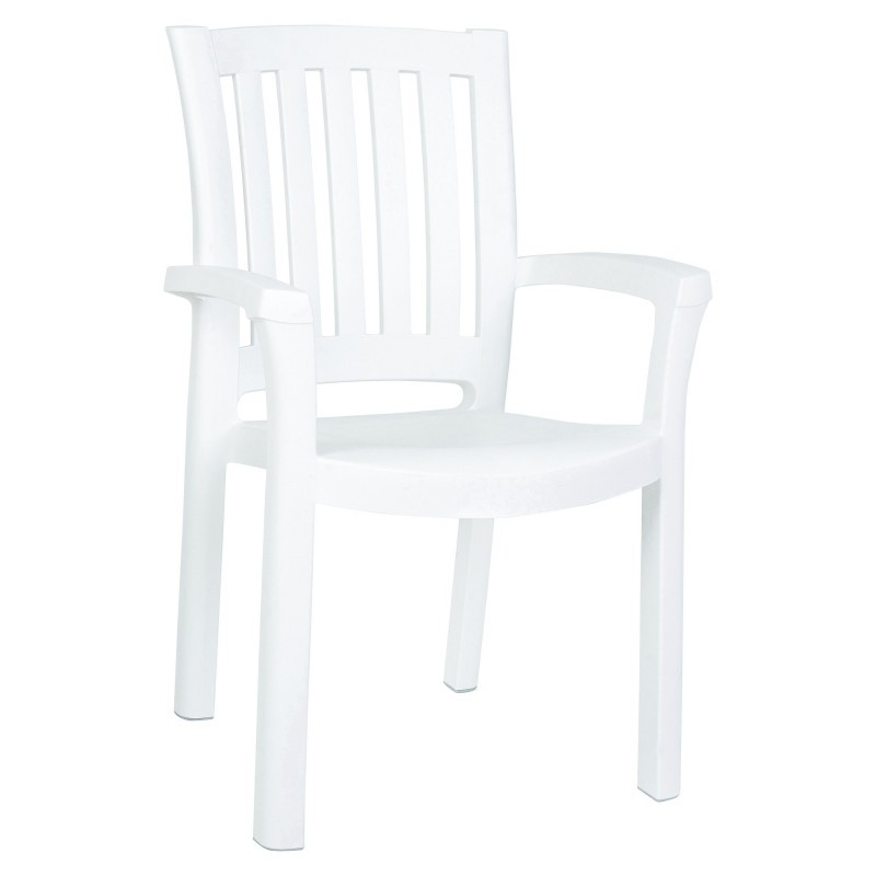 Outdoor White Stackable Plastic Chairs: Siesta Sunshine Stackable Plastic Outdoor Dining Chair White