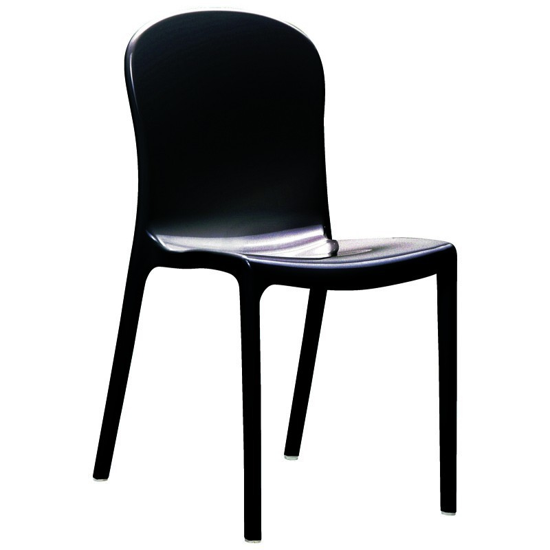 Victoria Glossy Plastic Bistro Chair Black ISP033