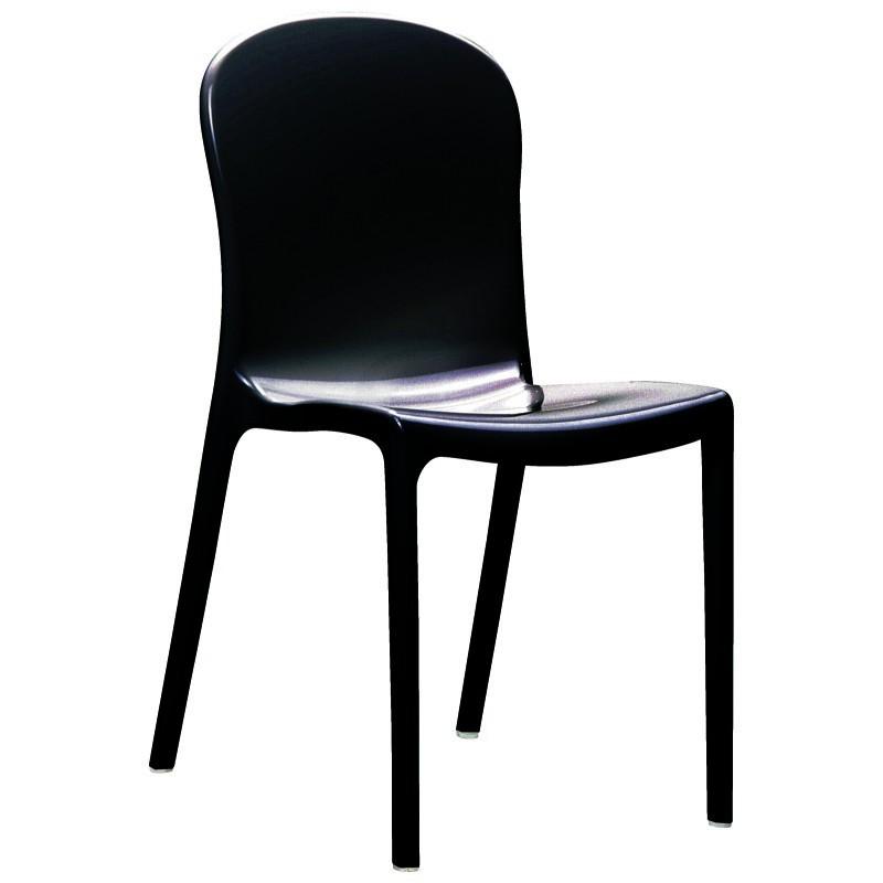 Victoria Glossy Plastic Outdoor Bistro Chair Black