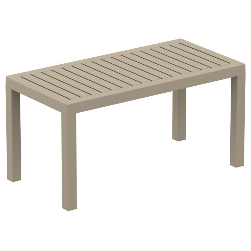 Ocean Rectangle Resin Outdoor Coffee Table Dove Gray ISP069