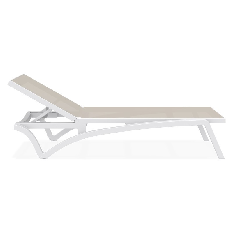 Pacific Stacking Sling Chaise Lounge White - Dove Gray ISP089
