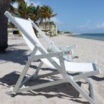Nanni Beach Folding Sling Lounge Chair with Arms Aluminum - White NU-LDCA