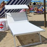 Nanni Beach King Sling Chaise Lounge with Sun Shade Aluminum - White NU-KCL