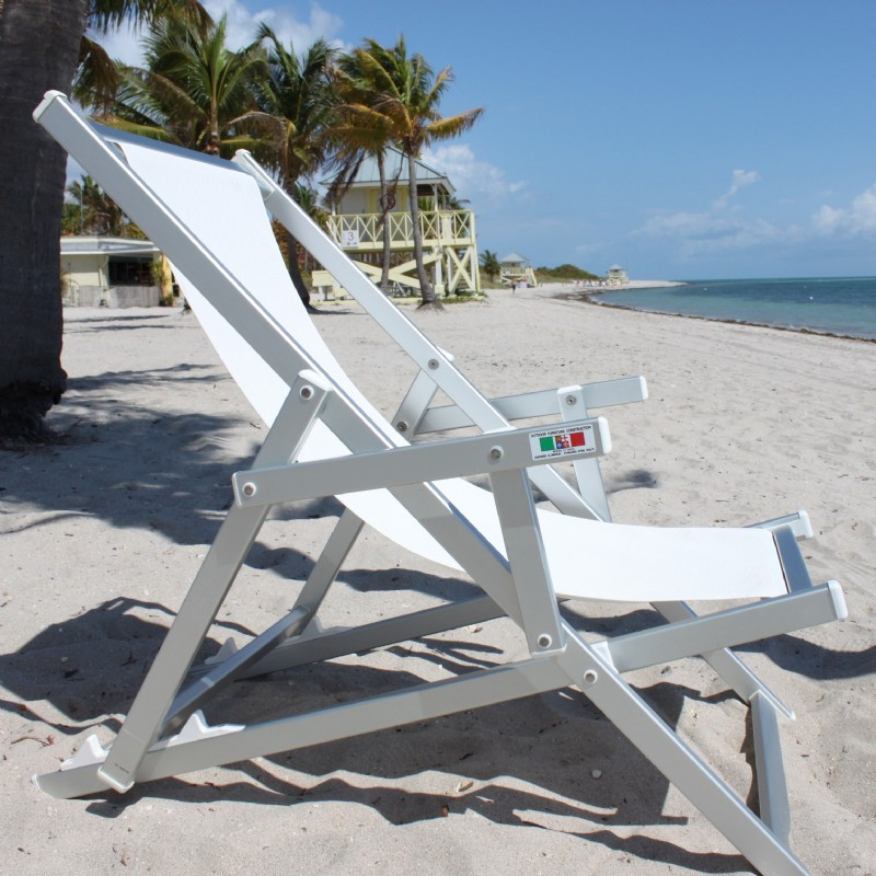 Nanni Beach Folding Sling Lounge Chair with Arms Aluminum - White