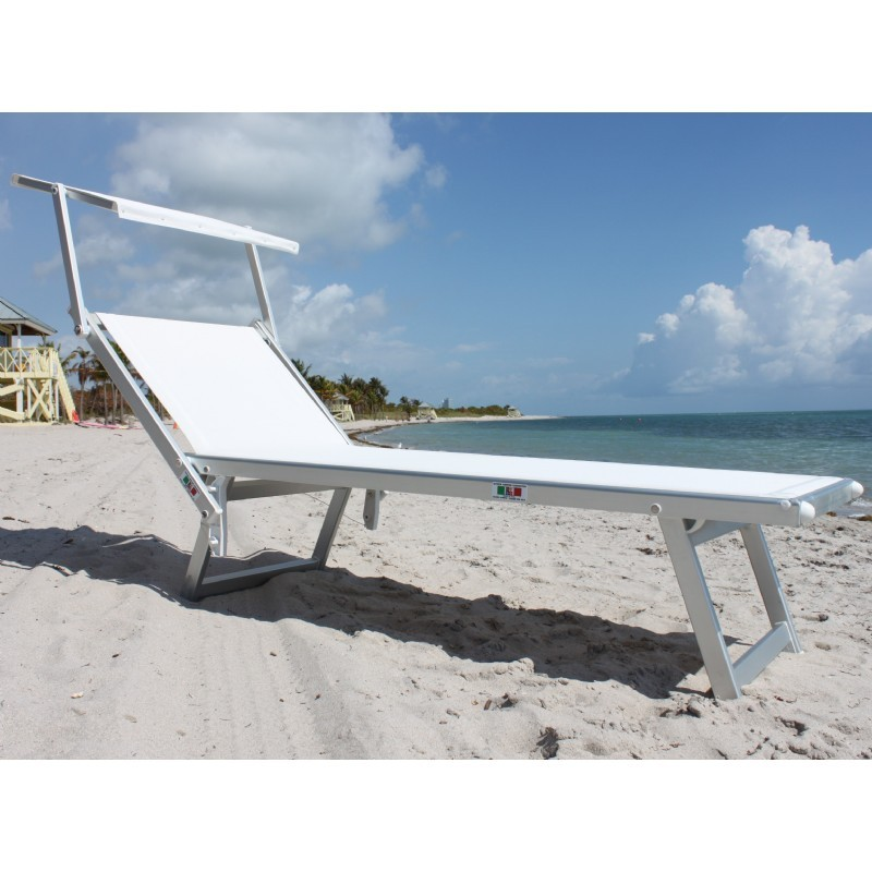 Nanni beach sling chaise lounge with sun shade aluminum for Beach lounge chaise