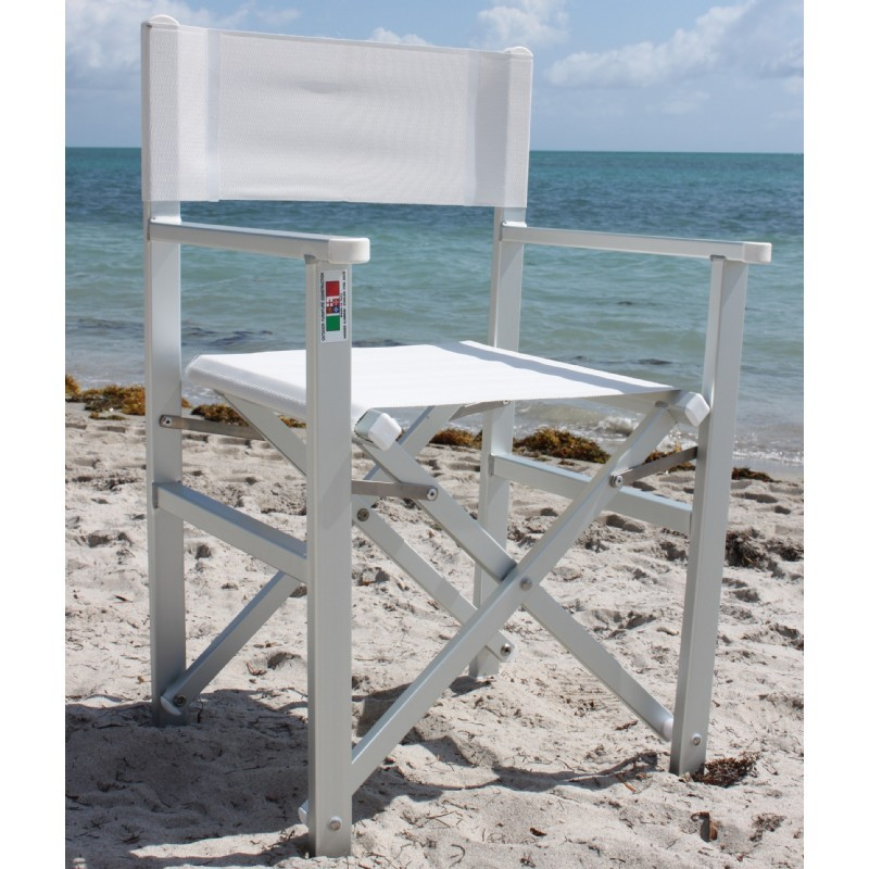 Nanni Folding Directors Chair with Arms Aluminum - White