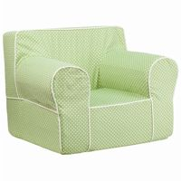 Green Kids Chair with White Dots & Piping DG-LGE-CH-KID-DOT-GRN-GG
