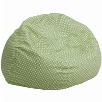 Large Kids Bean Bag Chair Green with White Dots DG-BEAN-LARGE-DOT-GRN-GG