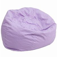 Large Kids Bean Bag Chair Lavender with White Dots DG-BEAN-LARGE-DOT-PUR-GG