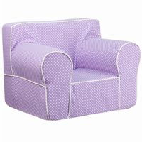 Lavender Kids Chair with White Dots & Piping DG-LGE-CH-KID-DOT-PUR-GG
