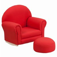 Red Fabric Kids Rocker Chair and Footrest SF-03-OTTO-RED-GG