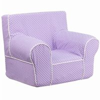 Small Lavender Kids Chair with White Dots & Piping DG-CH-KID-DOT-PUR-GG