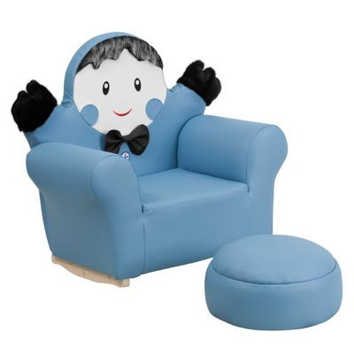 Blue Kids Little Boy Rocker Chair and Footrest HR-28-GG