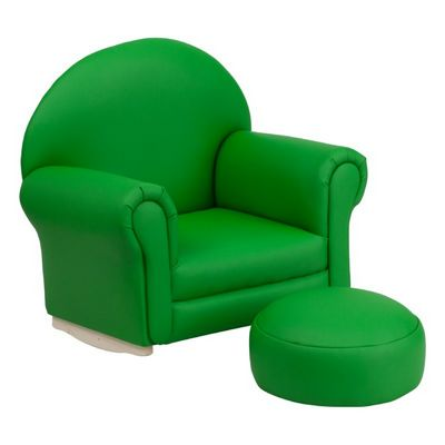 Green Vinyl Kids Rocker Chair and Footrest SF-03-OTTO-GRN-GG