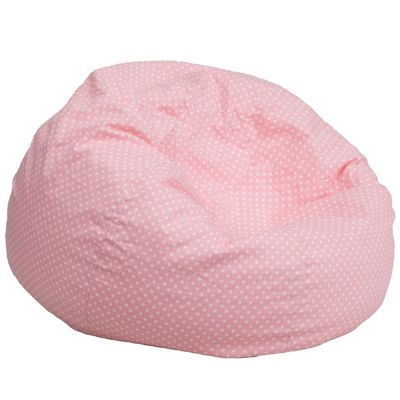 Large Kids Bean Bag Chair Pink with White Dots DG-BEAN-LARGE-DOT-PK-GG