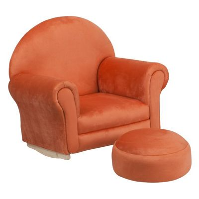 Orange Microfiber Kids Rocker Chair and Footrest SF-03-OTTO-MIC-OR-GG