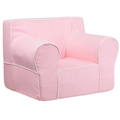 Pink Kids Chair with White Dots & Piping DG-LGE-CH-KID-DOT-PK-GG