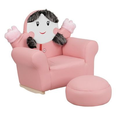 Pink kids little girl rocker chair and footrest hr 27 gg for Childrens rocking chair with footstool