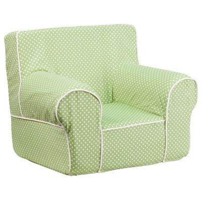 Small Green Kids Chair with White Dots & Piping DG-CH-KID-DOT-GRN-GG
