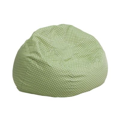 Small Kids Bean Bag Chair Green with White Dots DG-BEAN-SMALL-DOT-GRN-GG