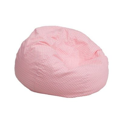 Small Kids Bean Bag Chair Pink with White Dots DG-BEAN-SMALL-DOT-PK-GG
