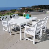 Bradley Classic 5-piece Wood Patio Dining Set with Rectangle Table - White V1336SET6