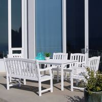 Bradley Classic 6-piece Wood Patio Dining Set with 4ft Bench and 4 Chairs - White V1336SET21