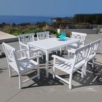 Bradley Contoured 7-piece Wood Patio Dining Set with Rectangle Table - White V1336SET3