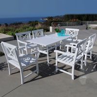 Bradley Contoured 7-piece Wood Patio Dining Set - White V1337SET9