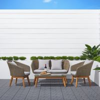 Grayton Outdoor Wicker & Wood 4-piece Seating Set in Light Gray V1910