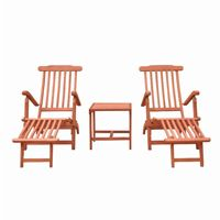 Malibu Wood Outdoor Patio 3-Piece Chaise Lounge Set V1802SET4
