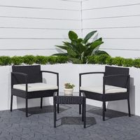 Tierra 3-Piece Outdoor Wicker Comfort Set with Cushion - Black V1913