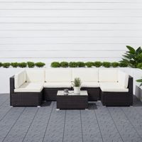 Venice 6-piece Outdoor Wicker Sectional Sofa Set with Cushion - Black V1911