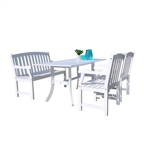 Bradley Classic 4-piece Wood Patio Dining Set with 4ft Bench and 2 Chairs - White V1337SET22