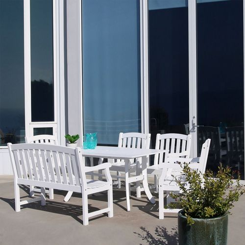 Bradley Classic 6-piece Wood Outdoor Patio Dining Set with 4ft Bench and 4 Chairs - White V1337SET23