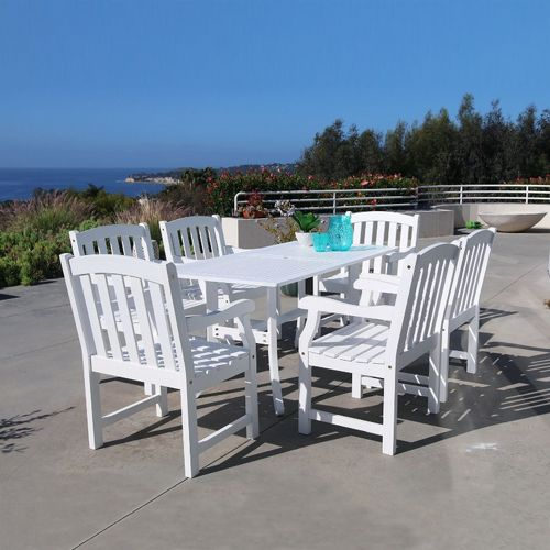 Bradley Classic 7-piece Wood Outdoor Patio Dining Set with 6 Chairs - White V1337SET7