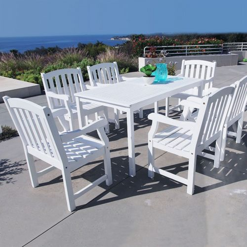 Bradley Classic 7-piece Wood Outdoor Patio Dining Set with rectangle Table - White V1336SET7