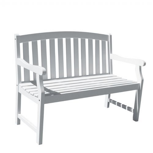 Bradley Classic Outdoor Patio 4ft Wood Garden Bench - White V1629