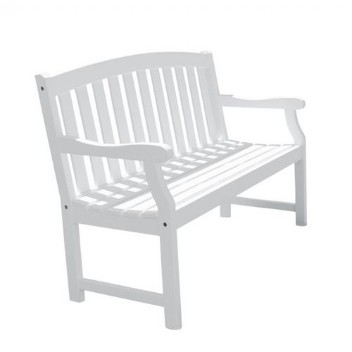 Bradley Classic Outdoor Patio 5ft Wood Garden Bench - White V1343
