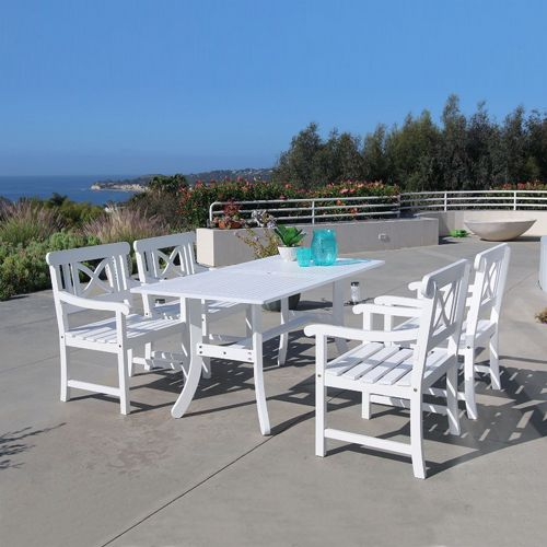 Bradley Contoured 5-piece Wood Patio Dining Set with 4 Chairs - White V1337SET8