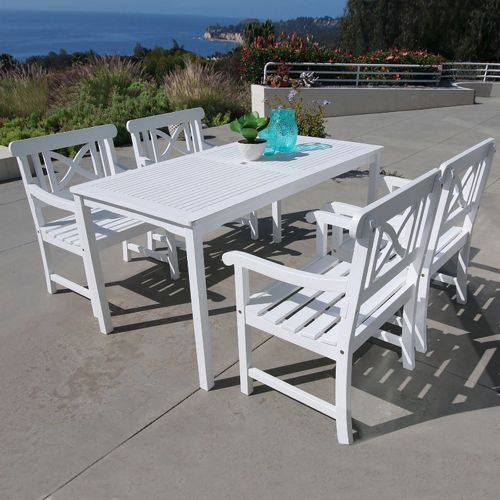 Bradley Contoured 5-piece Wood Patio Dining Set with Rectangle Table - White V1336SET2